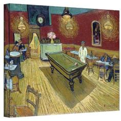 Van Gogh The Night Cafe In The Place Lamartine In Arles Wrapped Canvas, Size: 36 x 48, Red