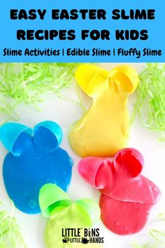 This easy Easter slime recipes for kids pack has everything that you need for fun filled science learning with slime. These are the best slime recipes for any time of the year that are fluffy, edible, and loaded with sensory learning. Included in this DIY slime recipe bundle are floam slimes, peep slime, slime activities, and so much more. Check out these easy Easter slime recipes for kids for some egg-stra fun Easter crafts that kids will love. Great for home, distance, and classroom… Basic Slime Recipe, Cool Slime Recipes, Fluffy Slime Recipe, Making Fluffy Slime, Homemade Slime, Diy Slime, Easter Activities, Holiday Activities, Edible Slime