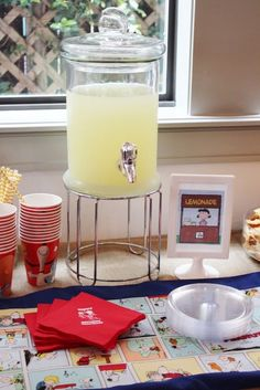 Drink + Food Table from a Peanuts + Charlie Brown Birthday Party via Kara's Party Ideas | KarasPartyIdeas.com (23)