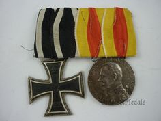 Germany - WW1 medal bar (Iron Cross 2nd Class and Military Merit medal from Baden)