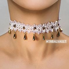 Introducing the Southern Belle white choker. Sign up for our newsletter at www.tribalvault.com for an instant $10 off coupon on all #TribalVault products.