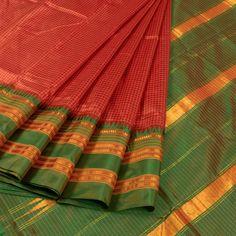 Handwoven Reddish Orange Narayanpet Silk Saree With Temple Border & Checks Design 10015595 - AVISHYA.COM