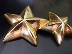 GIVENCHY Gold Double Star Brooch 3D Relief by RenaissanceFair