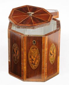Inner compartment lid detail of George III mahogany octagonal tea caddy from Stair Auctioneers & Appraisers