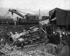Train wreck at Bluefield, WVa, ca. 1930?