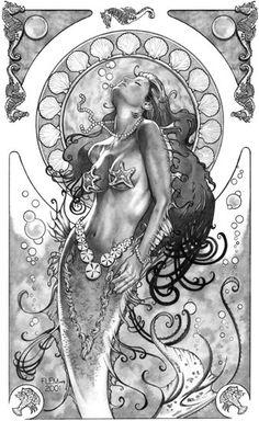 Mermaid Art Nouveau Ltd Ed Signed Print Tom Fleming Fantasy Mermaids, Real Mermaids, Mermaids And Mermen, Mermaid Fairy, Siren Mermaid, Mermaid Coloring, Mermaid Tattoos, Tatoo Art, Mythical Creatures
