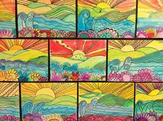 Apex Elementary Art: May 2012 watercolor landscapes, warm/cool; depth/space, pattern, variety