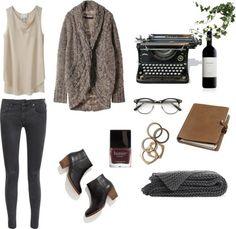 writer by madeline-elaine featuring madewell3.1 Phillip Lim sleeveless shirt / Cardigan / MOTHER skinny jeans, $220 / Madewell  / Rachel Lei...