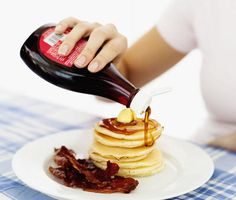 If you're looking for a healthy pancake syrup, opt for pure maple syrup or real honey instead of artificial pancake syrup. Nut butters are another good option. Healthy Pancake Syrup, Pancake Toppings, Healthy Recipes, Healthy Food, Blueberry Syrup, Pure Maple Syrup, Fritters, Pancakes, Beignets
