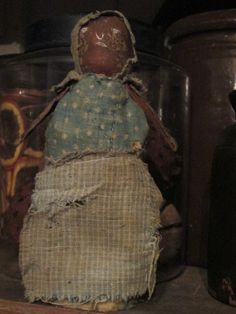 """Nitty....6.5"""" rolled old leather head doll in the best blues!"""
