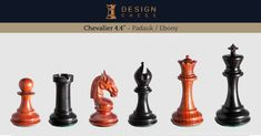 1849 Staunton inch chess pieces in antiqued boxwood and ebony. These pieces are as close as it is possible to gets to the original, revolutionary Staunton chessmen from Hand-made in India. A luxury product of Design Chess.