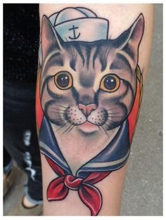 tattoo old school / traditional nautic ink - sailor cat