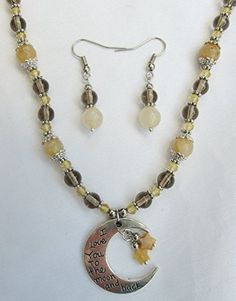 Silver Tone, I Love You To The Moon & Back Pendant, Citrine, Topaz Crystal & Smokey Quartz Beaded Necklace & Earrings, Gift Boxed Always Inspired by Amanda http://www.amazon.com/dp/B014CAWA1A/ref=cm_sw_r_pi_dp_CNB5vb1JQX42S