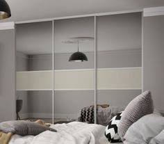 Classic 3 panel fineline sliding wardrobe doors in Grey Mirror and Soft White glass with Silver & From http://www.sharps.co.uk/bedroom-furniture/wardrobes/custom-made ...
