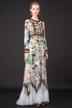 Famous Brand Long Sleeve White Maxi Long Flower Embroidery Vintage O-Neck Dresses 638277-818 by shujaktk on Etsy