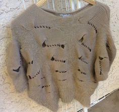ALBERTO  MAKALI Camel Knit Faux Rabbit Sweater Dolman Sleeves , Holes Design M #AlbertoMakali
