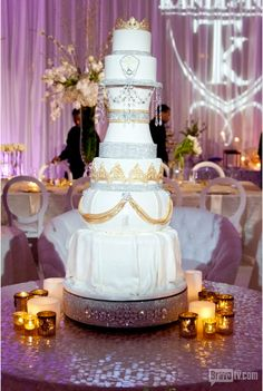 Kandi Burruss wedding cake   -I admire the uplighting/ and custom lit monogram