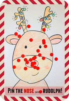 Ponle la nariz a Rudolph (Imprimible)// Pin the nose on Rudolph Christmas Game (printable)