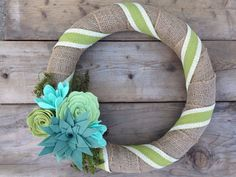 Burlap Wrapped Wreath Felt Succulent Wreath Aqua by TheRuffledPage