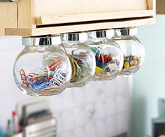 Hang Scrapbooking Supplies in Spice Jars