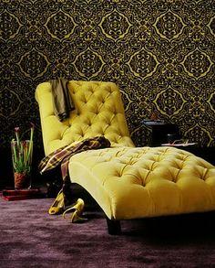 Yellow Velvet Tufted Lounger