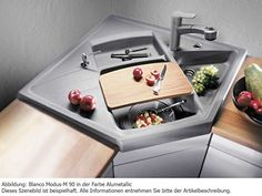 Blanco Modus-M 90 Felsgrau Eck Granit-Spüle Modulspüle Auflage Eckeinbau Grau: Amazon.de: Küche & Haushalt