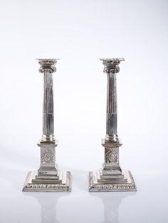 Pair of Sheffield plate candlesticks.