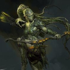 female alien / plant / underwater archer / ranger with cool bow ranged assassin / fighter DnD / Pathfinder character inspiration Fantasy Kunst, Dark Fantasy Art, Fantasy Rpg, Medieval Fantasy, Fantasy Girl, Fantasy Artwork, Fantasy Inspiration, Character Inspiration, Character Art