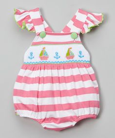 This Smocked or Not Pink Stripe Romper - Infant & Toddler by Smocked or Not is perfect! #zulilyfinds