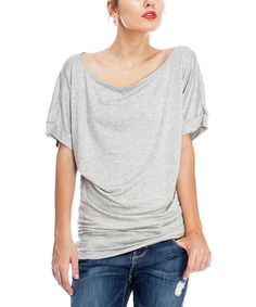 Loving this Heather Gray Drape Boatneck Top on #zulily! #zulilyfinds