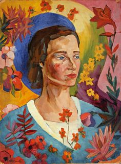 """Lentulov A.V., """"Portrait of an unknown in a blue dress,"""" 1916."""