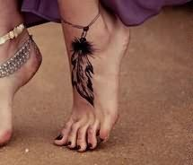 Peacock Feather Tattoo On Foot | Feather Tattoo For Foot Design