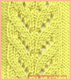 cascading leaves lace knitting stitch pattern