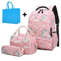 School Backpack for Girls 3 IN 1 Cute Lightweight Bookbag Set for Preschool Kindergarten Elementary Kids
