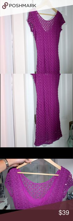 Purple Lace Free People Dress Fitted dress! Attached tight slip with a top layer of lace! Very flattering! Free People Dresses