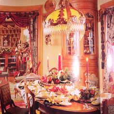 Dinning room table set in an 1874 mansion for a Victorian reenactment gathering.