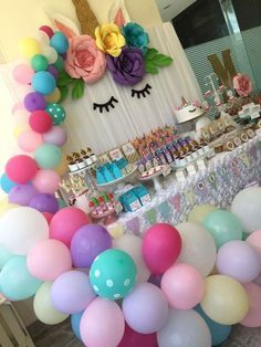 Birthday Party Ideas For Kids Girls Fun Games 28 Ideas Party Unicorn, Unicorn Themed Birthday Party, Unicorn Baby Shower, Birthday Party Decorations, Girl Birthday, Birthday Ideas, Theme Bapteme, Deco Ballon, Pony Party