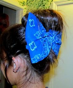 Your Place To Buy And Sell All Things Handmade Bandana Hair Bow Large Hair Bow Hair Bow Big Hair Bow Teens Accessories Womens Big Bow For Hair Hair Accessories On Etsy 7 50 Bandana Hairstyles, Down Hairstyles, Pretty Hairstyles, Bandana Hair Bows, Bun Bow, Large Hair Bows, Hand Knit Scarf, Let Your Hair Down, Lightweight Scarf
