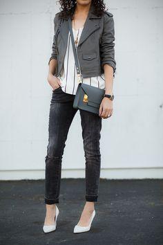 Linea Pelle leather moto jacket, Keepsake pinstripe camisole, Sophie Hulme mini envelope bag, petite fashion