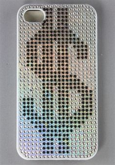 I Phone Case / Dollar Sign Design / Plastic Case  With Crystal Bead /  4G / 4S