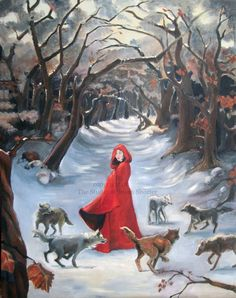 Little Red Riding Hood by on DeviantArt Little Red Ridding Hood, Red Riding Hood, Laser Paper, Corel Painter, Big Bad Wolf, Star Sky, Sacred Art, Lovers Art, Oil On Canvas