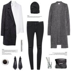 A fashion look from December 2014 featuring Acne Studios cardigans, Yohji Yamamoto tops and Étoile Isabel Marant coats. Browse and shop related looks. Minimal Chic, Minimal Fashion, Mode Outfits, Winter Outfits, Fashion Outfits, Mode Style, Style Me, Girl Style, Street Look