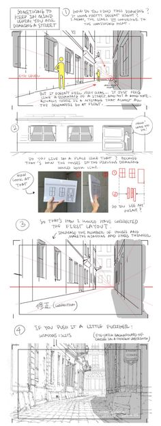 Anime Drawing Tutorial as-warm-as-choco: How to draw a street that looks good (to me at least!) by Thomas Romain (Space Dandy, Code Lyoko, Basquash! Another great tutorial ! Drawing Lessons, Drawing Skills, Drawing Techniques, Drawing Tips, Drawing Ideas, Perspective Architecture, Perspective Sketch, How To Draw Perspective, Thomas Romain