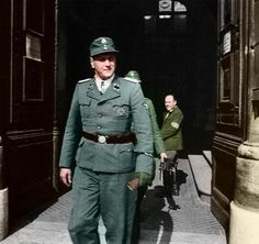 SS-Standartenführer Otto Skorzeny, Europe's most dangerous man as entitled by the allies, at the entrance of the castle of Budapest, the Bud...