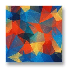Polyart Canvas Print.  This canvas print features a beautiful triangular polygon design in dark tones of red, yellow, blue and black.