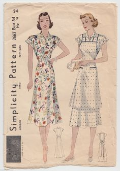 Unsung Sewing Patterns: 7 Simplicity 2667 - Misses' and Women's House Dress and Apron Half Apron Patterns, Vintage Apron Pattern, Aprons Vintage, Vintage Sewing Patterns, Clothing Patterns, Dress Patterns, Clothing Styles, Vintage Outfits, Vintage Dresses