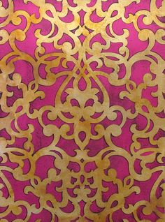 Wall Stencil with metallic foil finish | Donatella Damask Stencil | www.royaldesignstudio.com