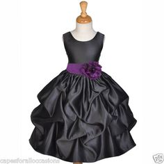JUNIOR BRIDESMAID WEDDING NEW FLOWER GIRL DRESS BLACK PLUM PURPLE 12M 2 4 6 8 10 | eBay          These would be adorable for the girls to wear... hint hint lol