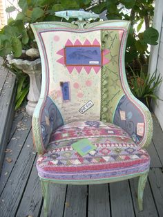 One of a kind hand knitted and felted ART Chair created by Katie Gardenia