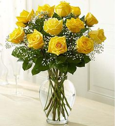 Brighten any celebration with a beautiful and brilliant bouquet of premium long-stem yellow roses. Hand-designed by our select florists, it's a stylish and vibrant gift that's sure to bring sunny smiles to their day. 800 Flowers, Annual Flowers, Exotic Flowers, Fresh Flowers, Beautiful Flowers, Fall Flowers, Send Roses, Send Flowers Online, Hybrid Tea Roses